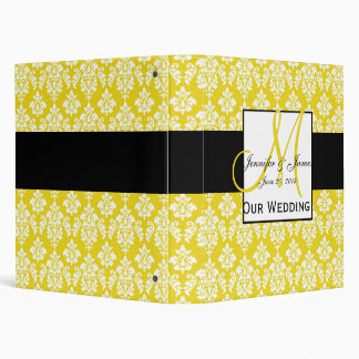 Yellow Damask Monogram Wedding Planning Binder