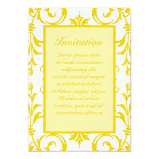 """Yellow Damask Pattern 5"""" X 7"""" Invitation Card"""