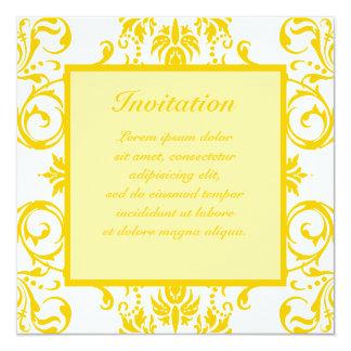 "Yellow Damask Pattern 5.25"" Square Invitation Card"