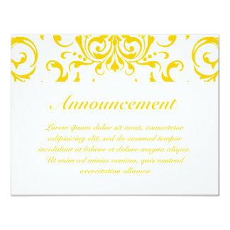 """Yellow Damask Pattern 4.25"""" X 5.5"""" Invitation Card"""