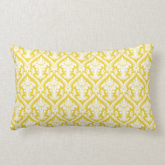 Yellow damask pattern lumbar pillow