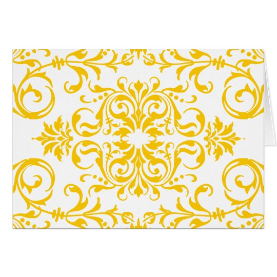 Yellow Damask Pattern with Customizable Background Card