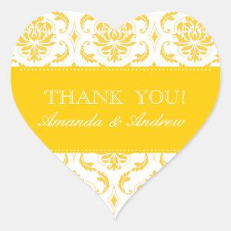 Yellow Damask Personalized Wedding Thank You Heart Sticker