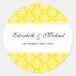 Yellow Damask Round Wedding Favour Label Round Stickers