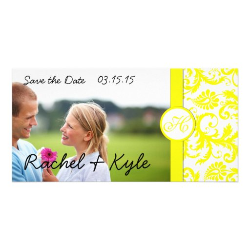 Yellow Damask Save the Date Photo Card