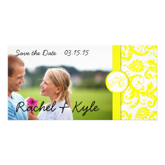Yellow Damask Save the Date Picture Card