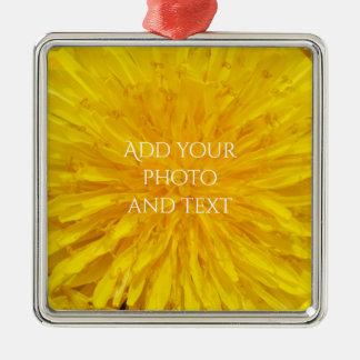 Yellow Dandelion Flower Photo Dot 0560 Metal Ornament