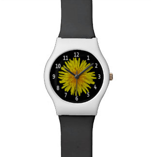 Yellow Dandelion Flower White Digits on any Color Wristwatch