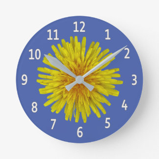 Yellow Dandelion Flower White Digits on any Colour Wallclocks