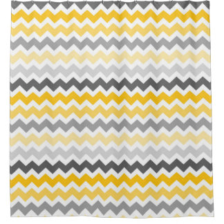 Yellow Dark Grey Chevron Stripes Shower Curtain