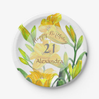 Yellow Day Lilies Floral Art Paper Plate