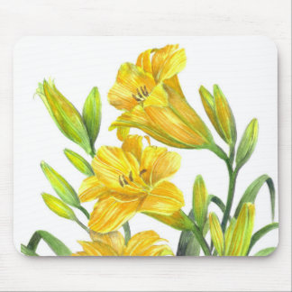 Yellow Day Lillies Botanical Illustration Mouse Pad