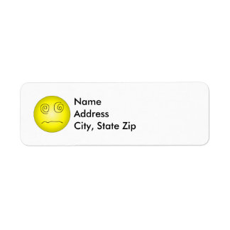 Yellow Dazed and Confused Smiley Return Address Label