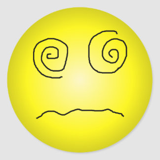 Yellow Dazed and Confused Smiley Classic Round StickerDazed And Confused Smiley Face