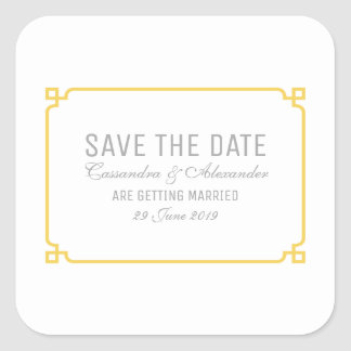 Yellow Deco Chic Save the Date Square Sticker
