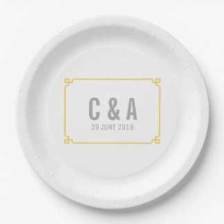 Yellow Deco Chic Wedding Paper Plate