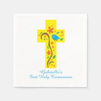 Yellow Decorative Cross With Bird Communion Napkin Disposable Napkins