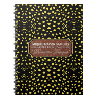Yellow Decorative Dots Black Modern Notebook