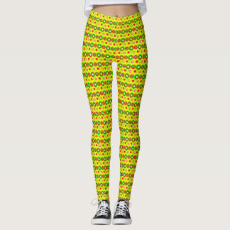 Yellow Decorative geometric pattern Leggings