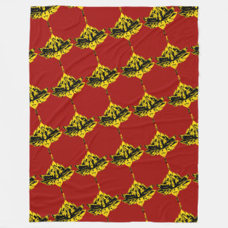 Yellow Decorative Lotus Flower Fleece Blanket