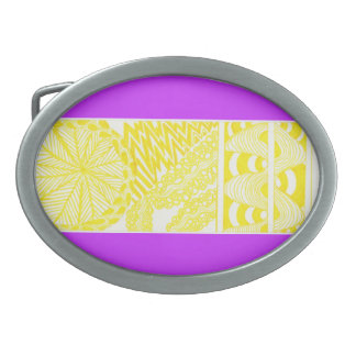 Yellow design with Purple Background Oval Belt Buckle