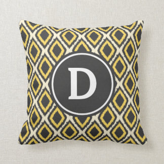 Yellow Diamond Ikat Monogram Throw Pillow