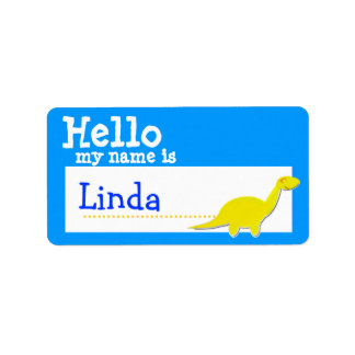 Yellow Diplodocus Hello My Name is Badge Blue Personalized Address Labels