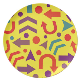 Yellow direction dinner plate