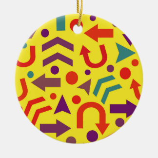Yellow direction round ceramic ornament
