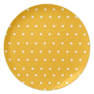 Yellow Display Plate with white polka dots