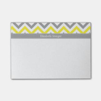 Yellow Dk Gray White LG Chevron Gray Name Monogram Post-it Notes