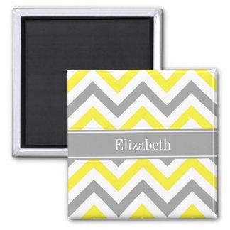 Yellow Dk Gray White LG Chevron Gray Name Monogram Square Magnet