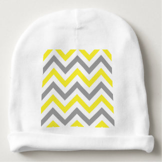Yellow, Dk Gray Wht Large Chevron ZigZag Pattern Baby Beanie