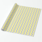 Yellow, Dk Grey Wht Large Chevron ZigZag Pattern Wrapping Paper