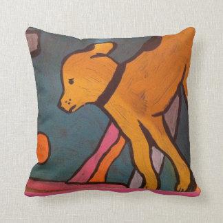 Yellow Dog Painting Throw Pillow