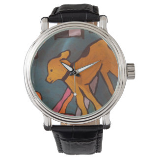 Yellow Dog Painting Watch by Willowcatdesigns