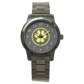Yellow Dog Paw Design Dog Lover Watch