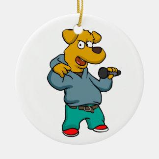 Yellow dog rapper ceramic ornament