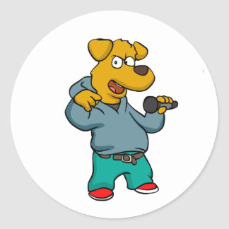 Yellow dog rapper classic round sticker
