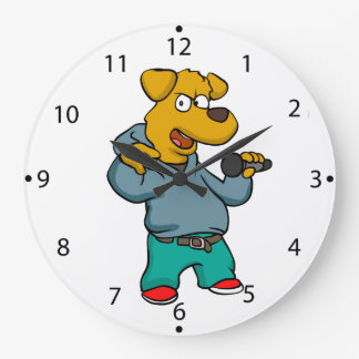 Yellow dog rapper large clock