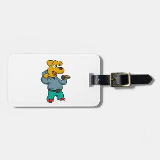 Yellow dog rapper luggage tag