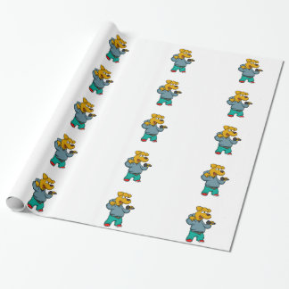 Yellow dog rapper wrapping paper