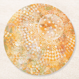 Yellow Doily Monoprint Design Round Paper Coaster