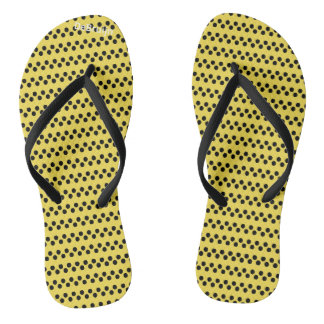 Yellow Dots Flip Flops