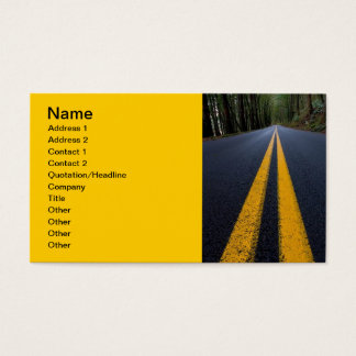 YELLOW DOUBLE LINE PAVEMENT ROADS TRAVELING PHOTO BUSINESS CARD