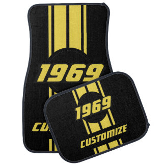 Yellow Double Race Stripes with DIY Year and Text Car Mat