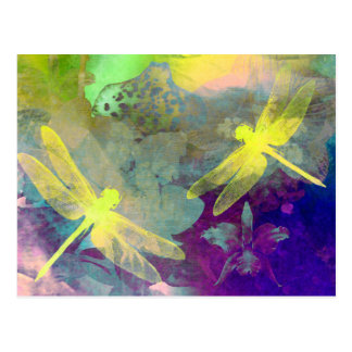 Yellow Dragonflies Postcard