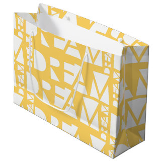 Yellow Dream Geometric Cutout Design Large Gift Bag