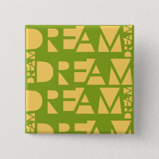 Yellow Dream Geometric Shaped Letters 2 Inch Square Button