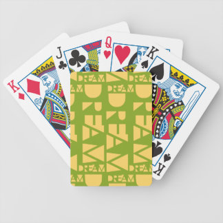 Yellow Dream Geometric Shaped Letters Bicycle Playing Cards